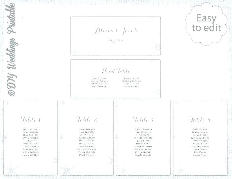 Wedding Seating List Template Word