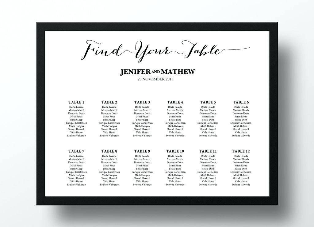 Wedding Seating Poster Template Free