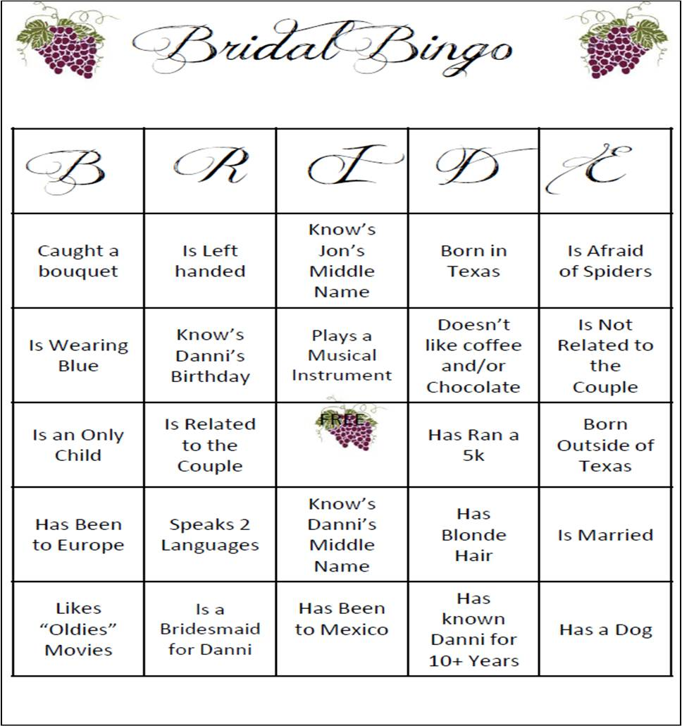 Wedding Shower Bingo Template