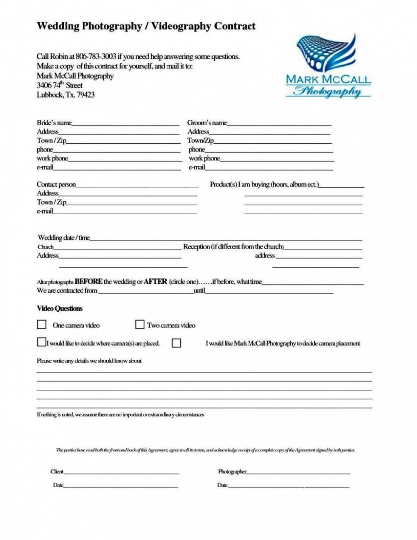 Wedding Videographer Contract Template