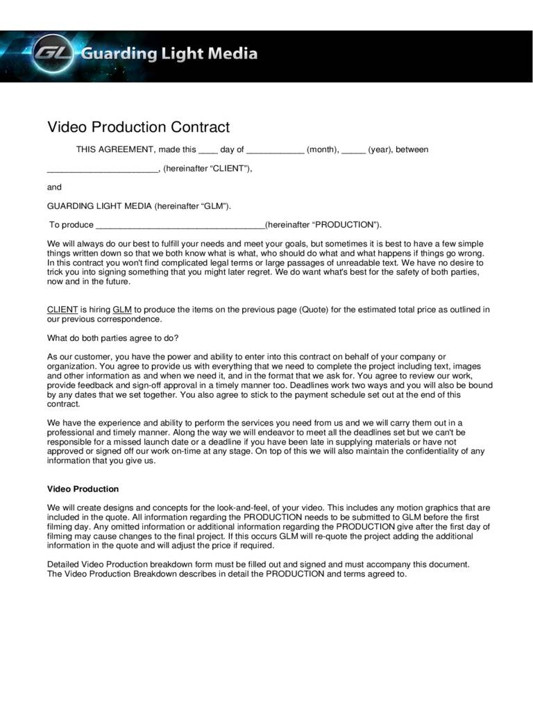 Wedding Videography Contract Template Pdf