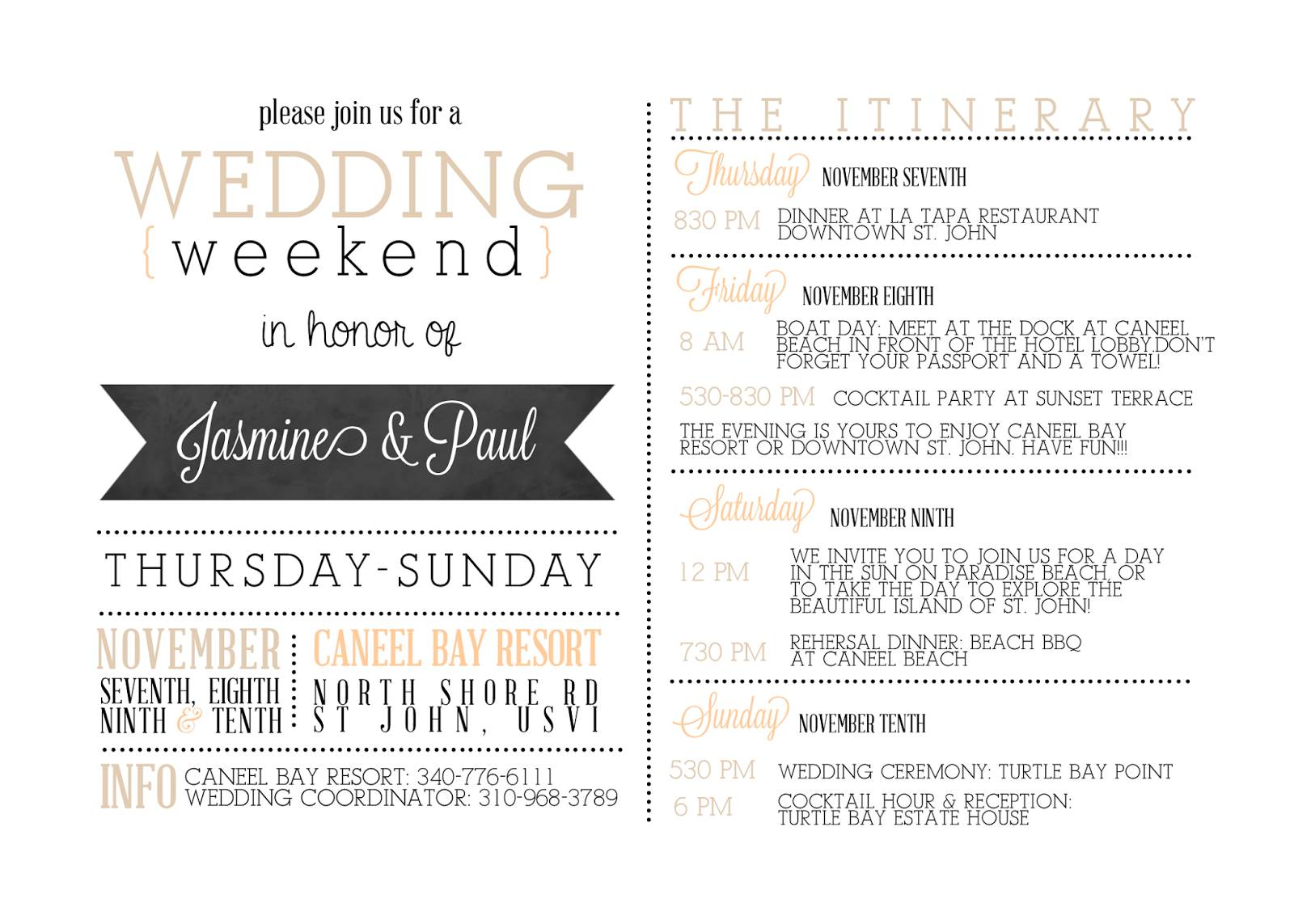 Wedding Weekend Agenda Template