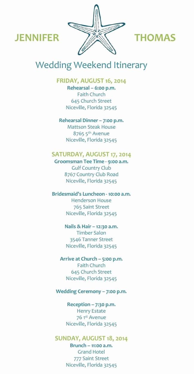 Wedding Weekend Itinerary Templates