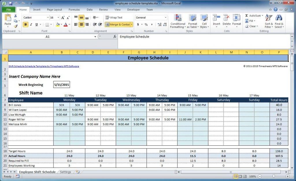 Weekly Employee Shift Schedule Template Excel Download