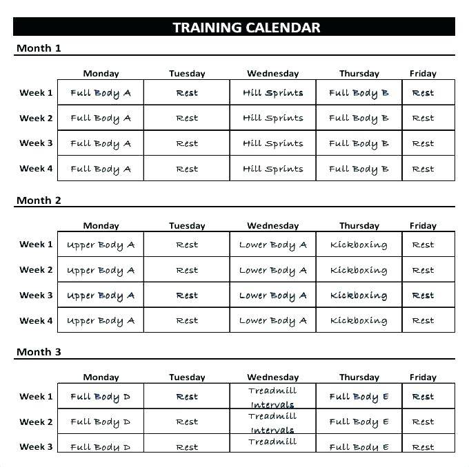 Weekly Fitness Schedule Template
