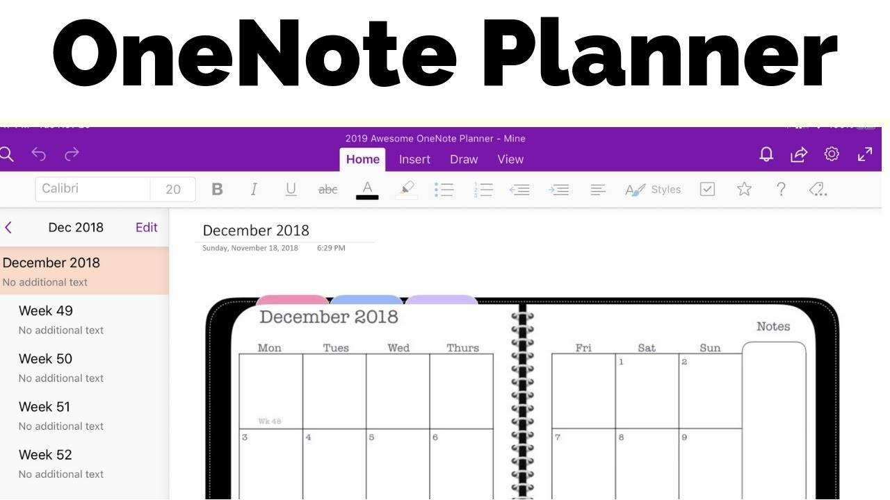 Weekly Planner Template Onenote