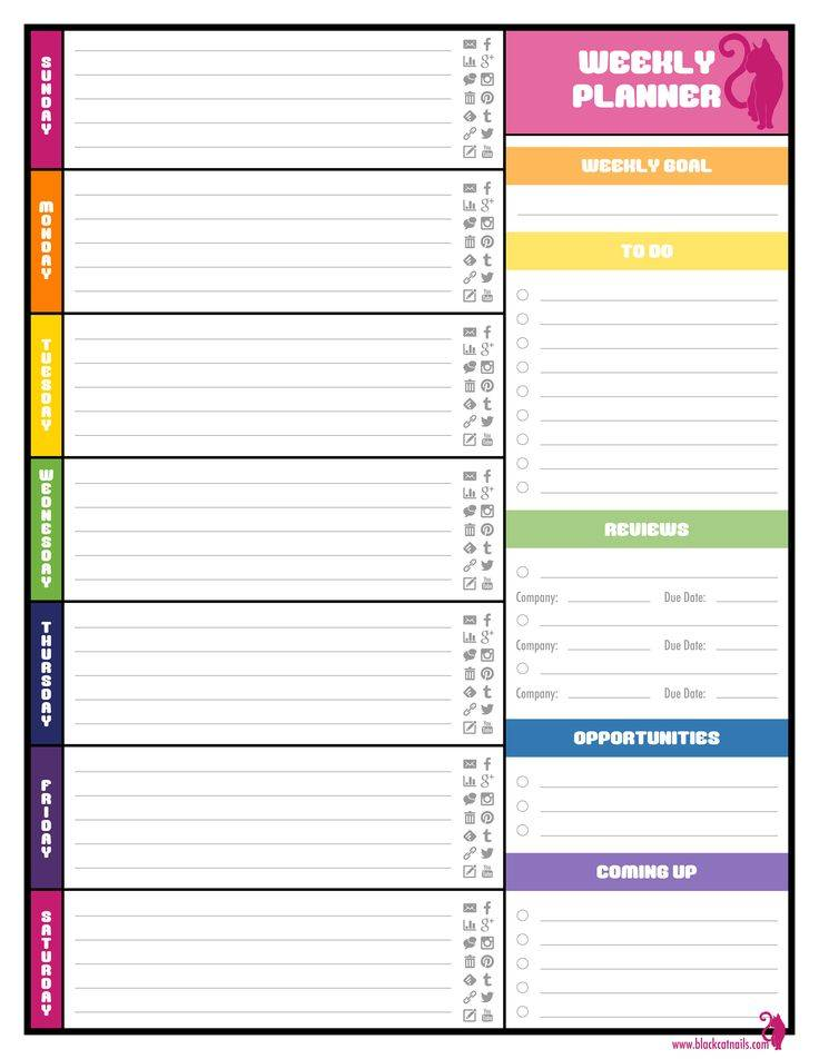Weekly Planner Template Printable