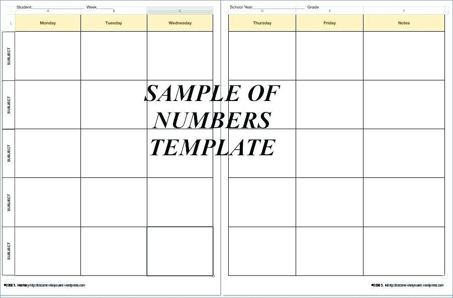 Weekly Planner Template Teacher