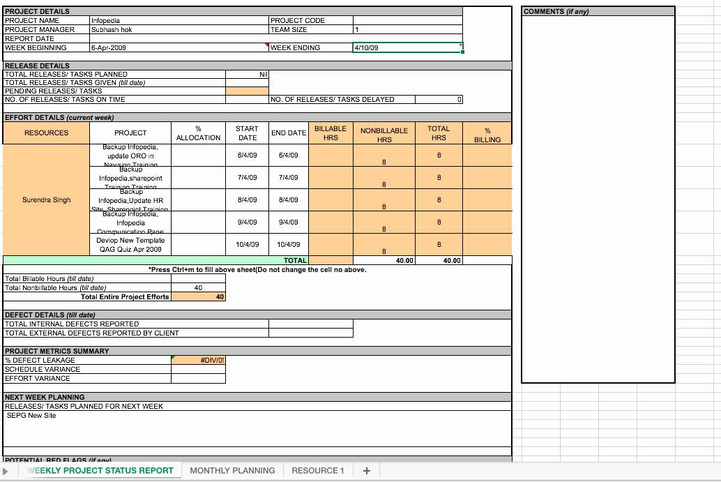 Weekly Project Reporting Template Excel