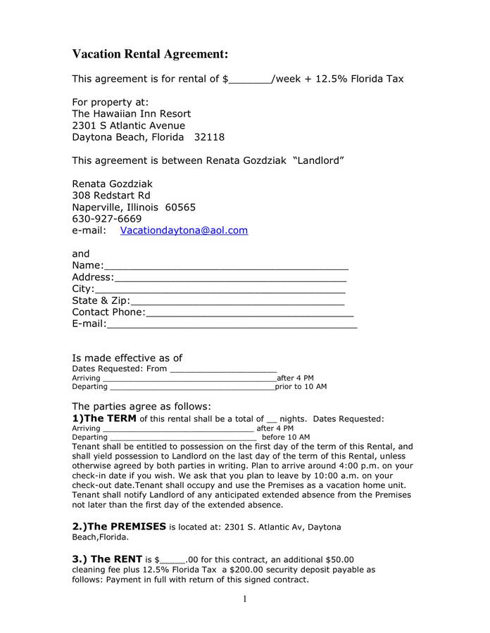 Weekly Rental Agreement Template