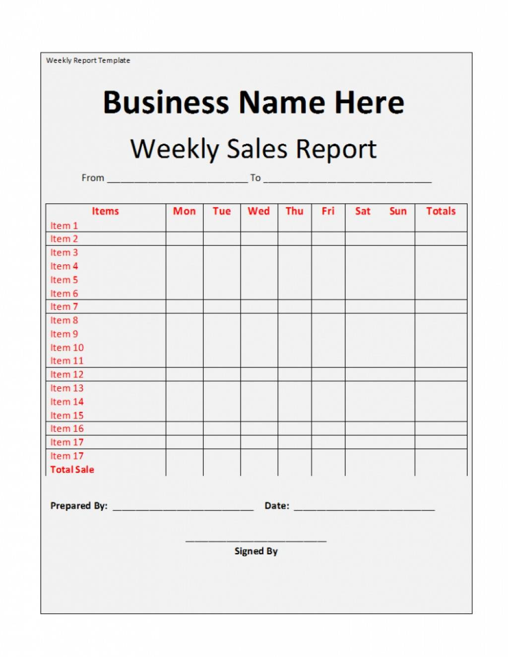 Weekly Sales Report Template Download