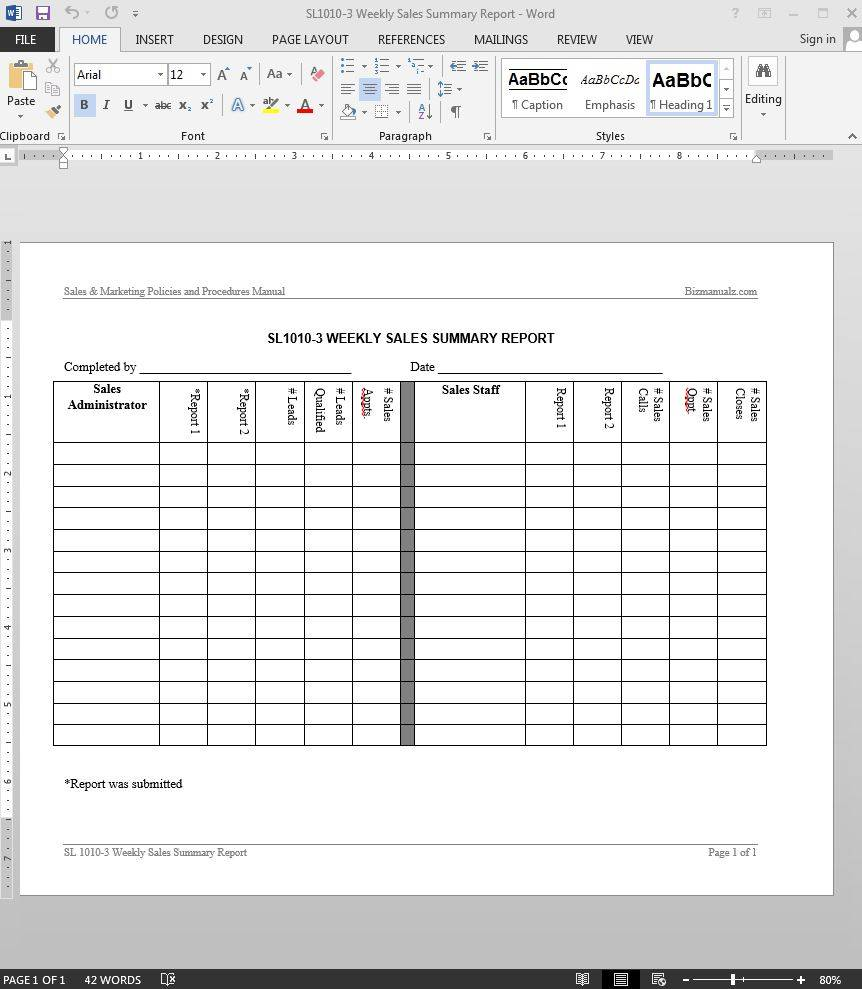 Weekly Sales Report Templates