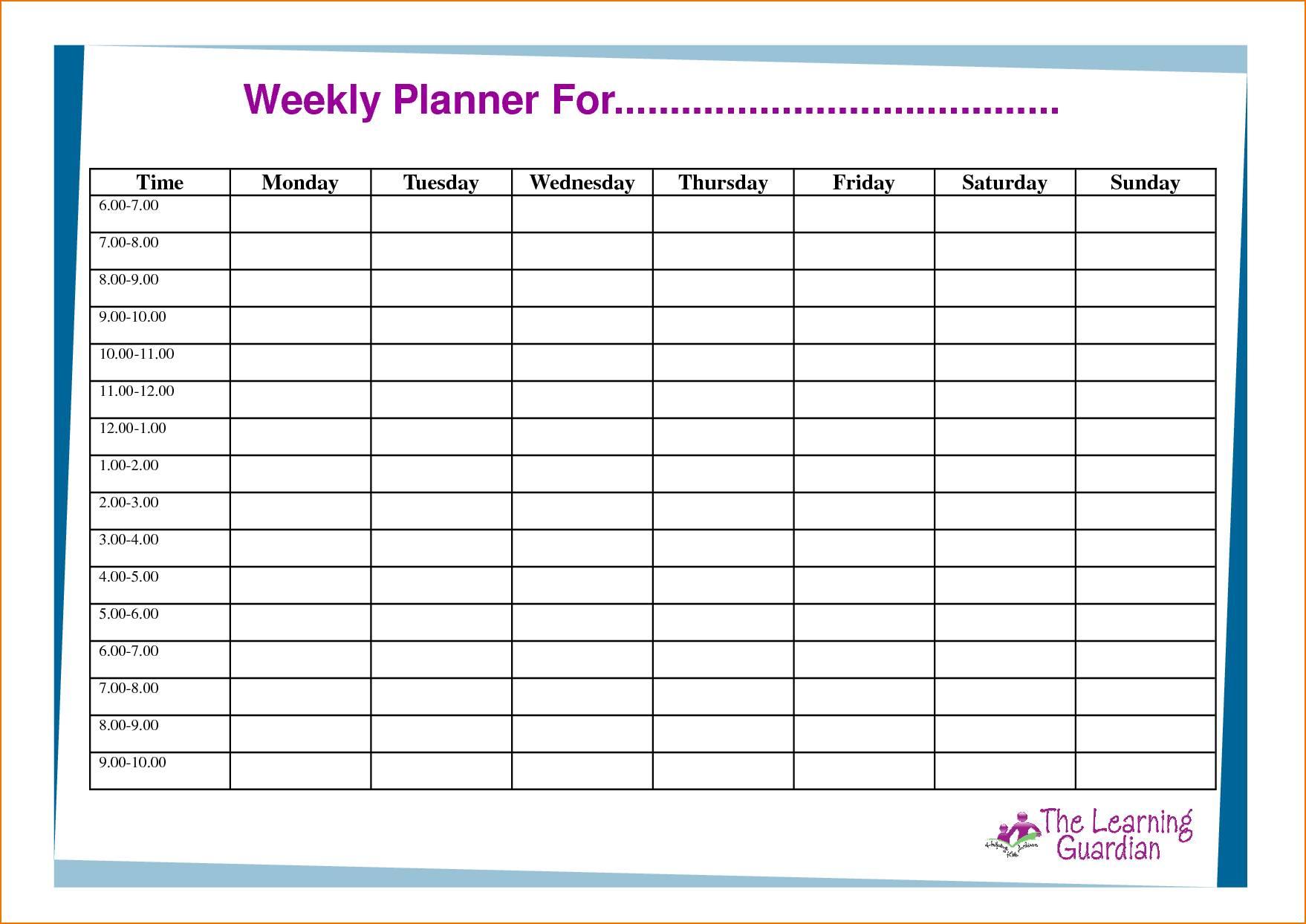 Weekly Schedule Grid Template