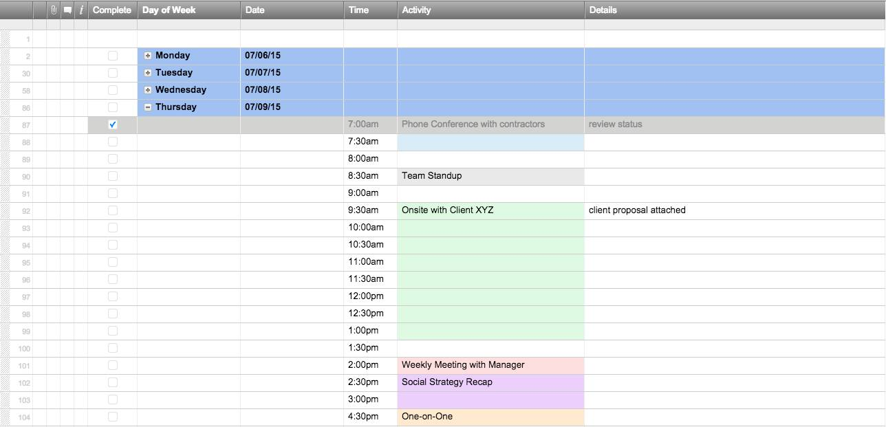 Weekly Schedule Spreadsheet Template
