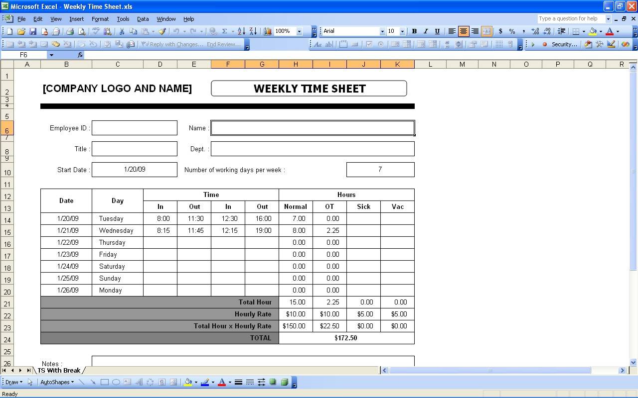 Weekly Time Template Excel