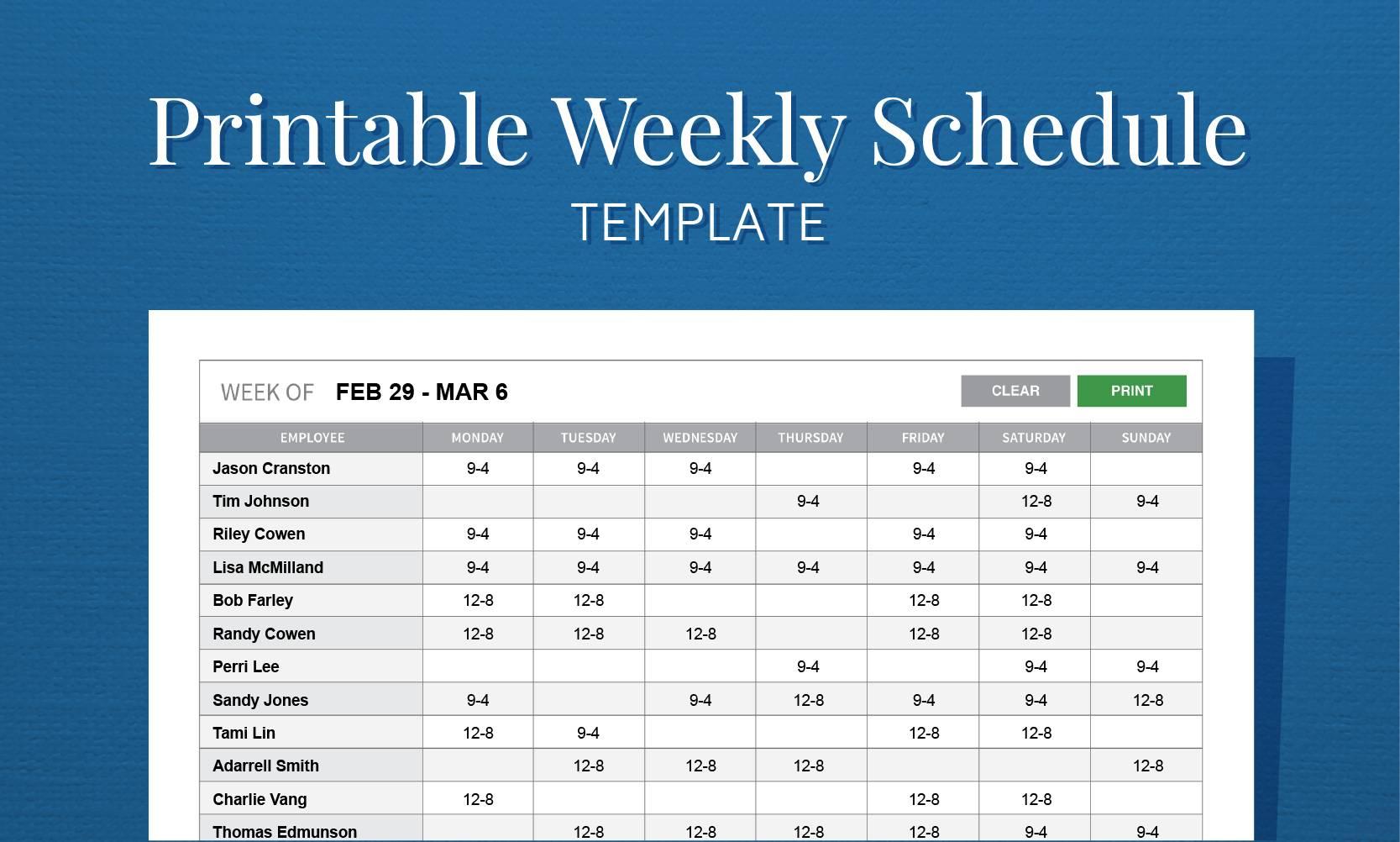 Weekly Work Schedule Calendar Template