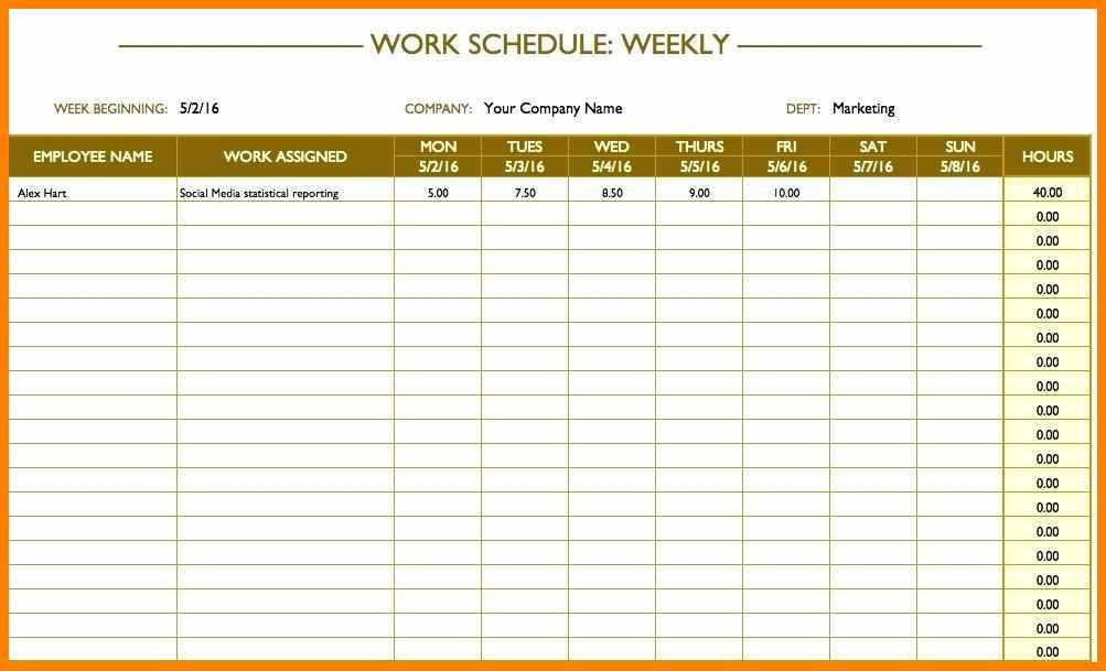 Weekly Work Templates