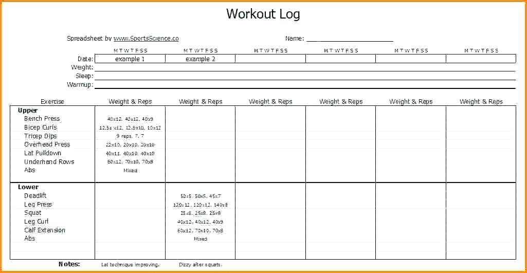 Weekly Workout Log Excel Template