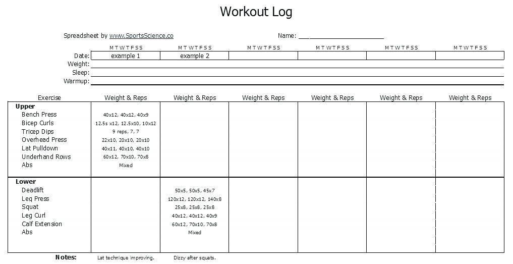 Weight Training Log Book Template
