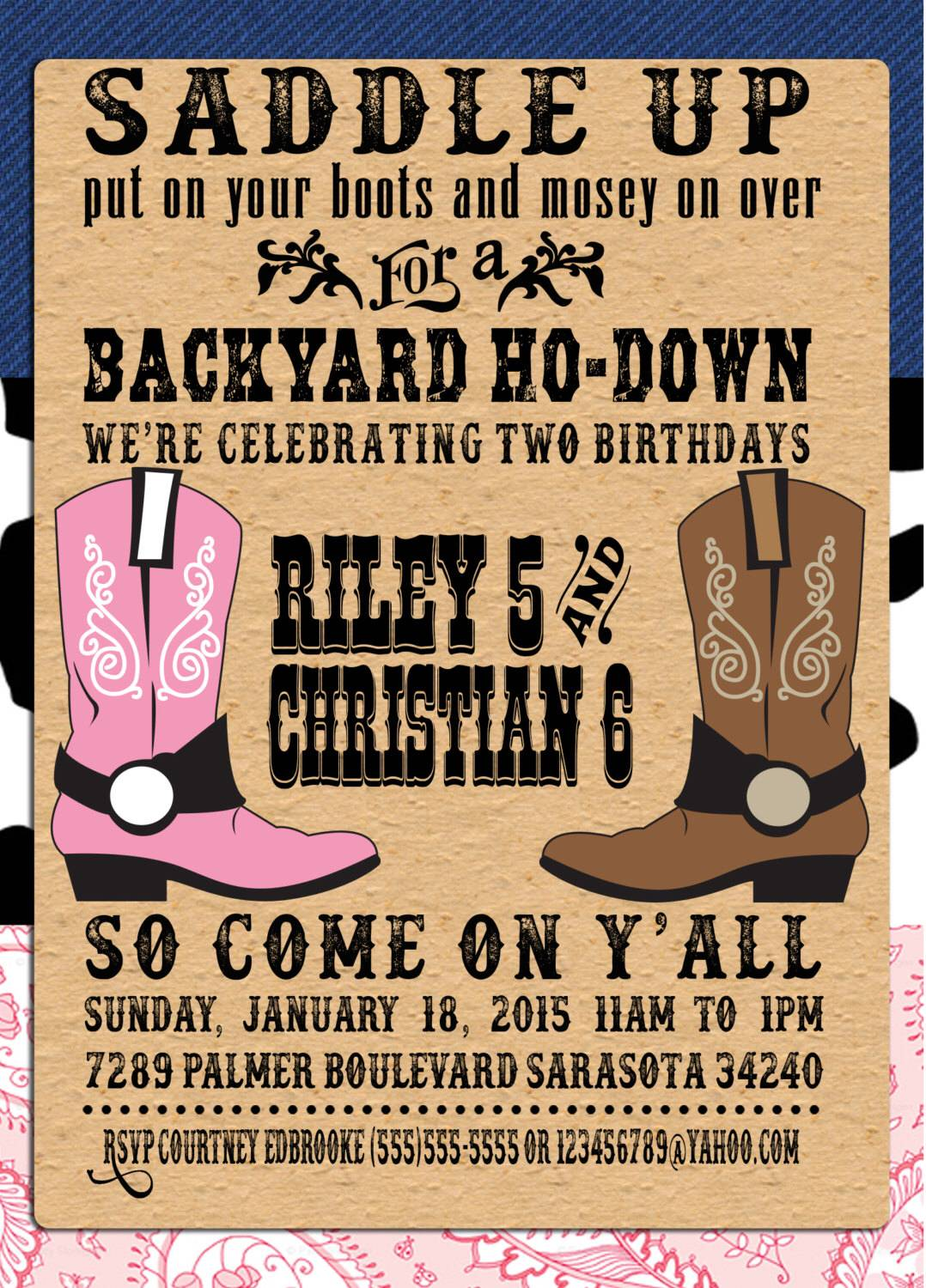 Western Party Invitation Template Free