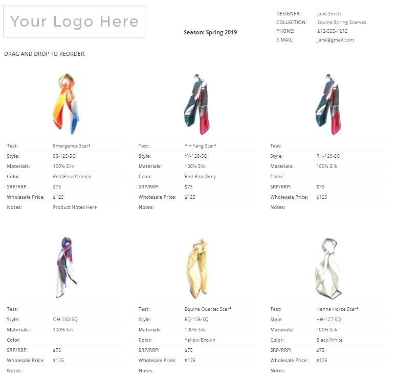 Wholesale Jewelry Line Sheet Template
