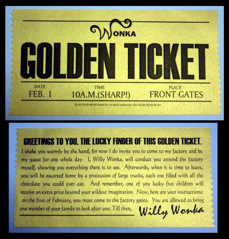 Willy Wonka Golden Ticket Invitation Template Free