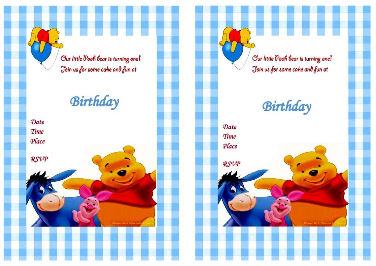Winnie The Pooh Party Invitation Template