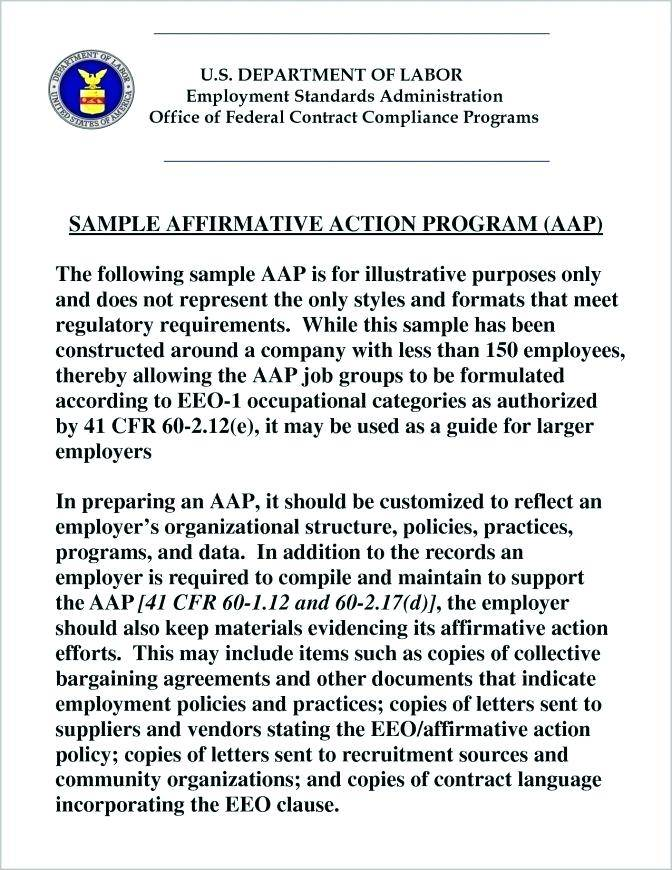Wisconsin Affirmative Action Plan Template