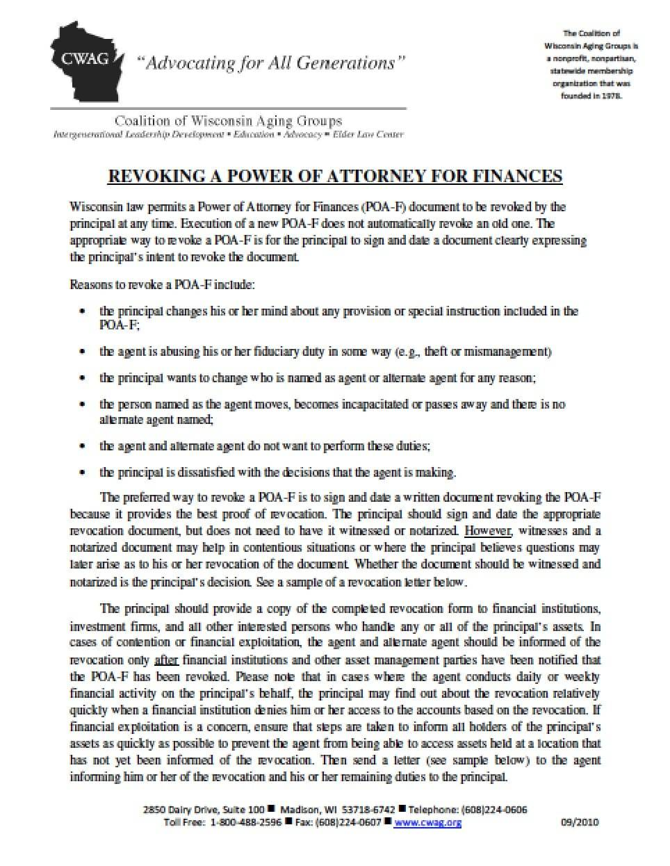 Wisconsin Financial Power Of Attorney Template