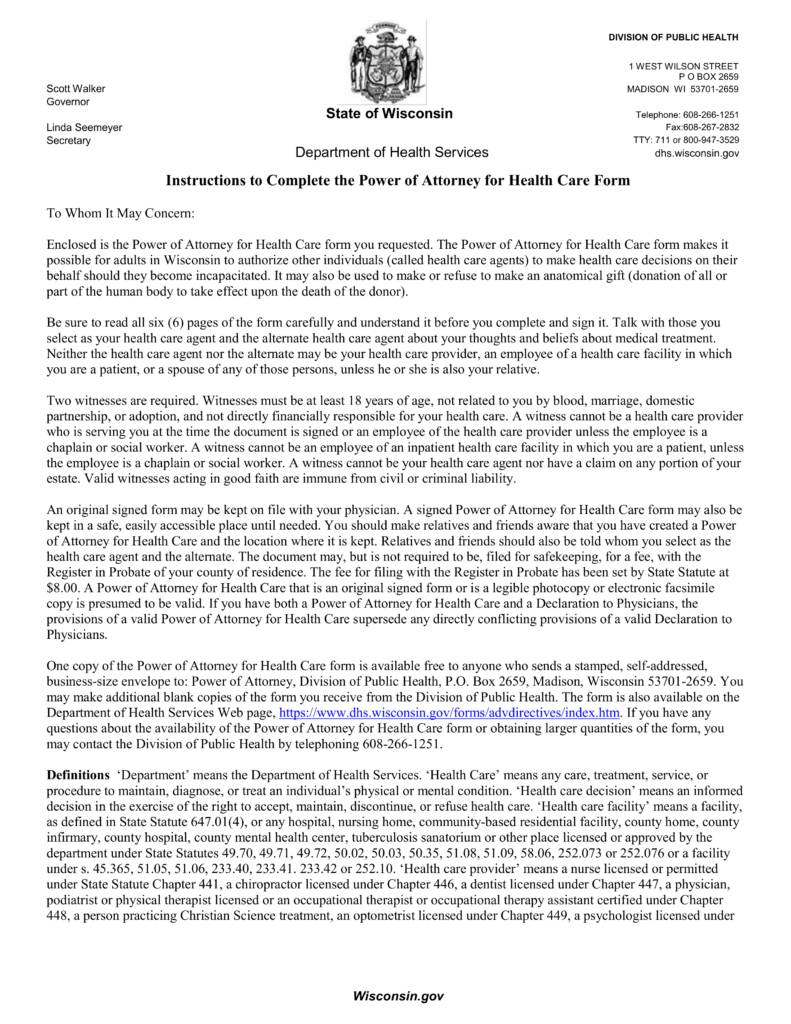Wisconsin Health Care Power Of Attorney Document