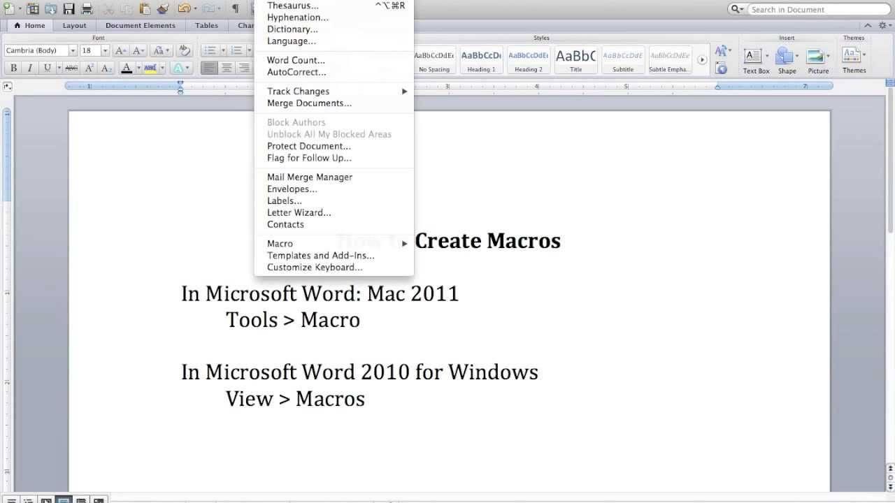 Word 2010 Macro Template