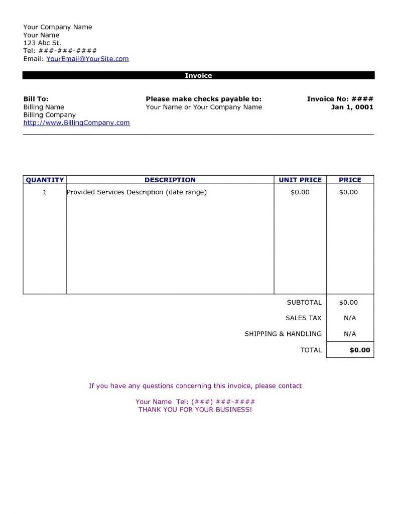 Word Document Invoice Format