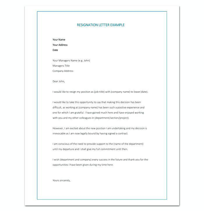 Word Document Templates Resignation Letter