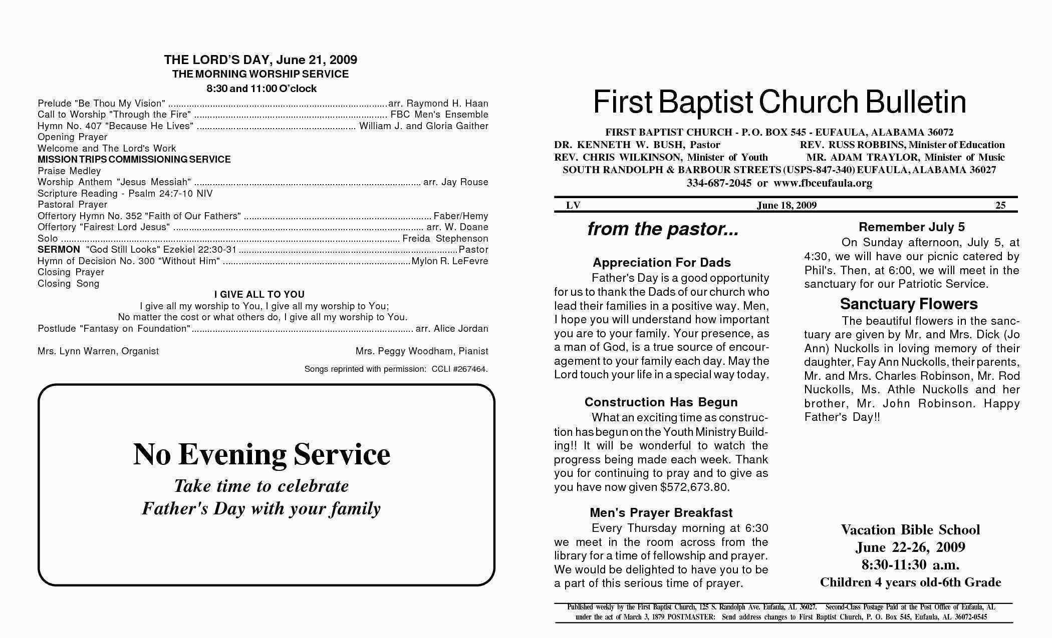 Word Template For Church Bulletin