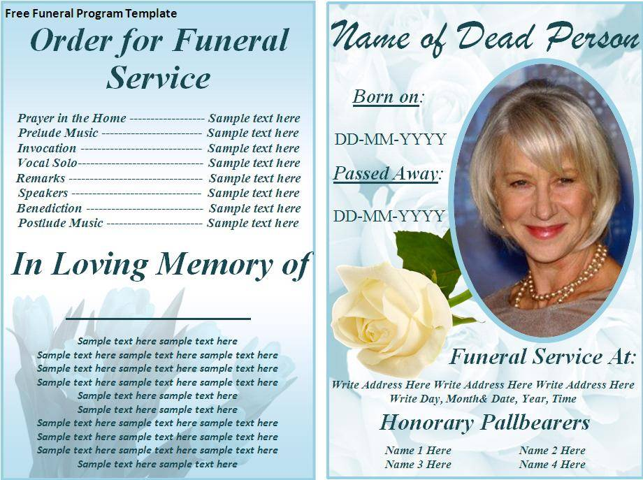 Word Template For Funeral Program Free