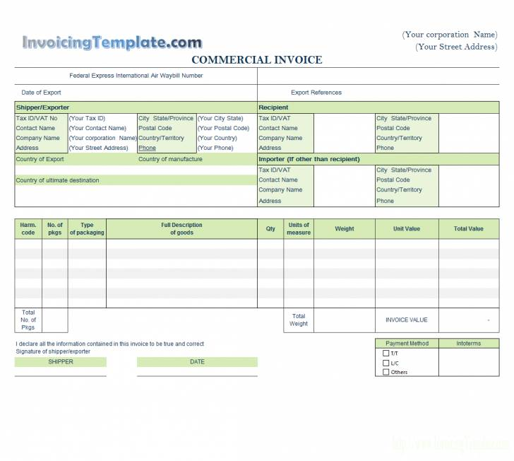 Word Template For Invoice