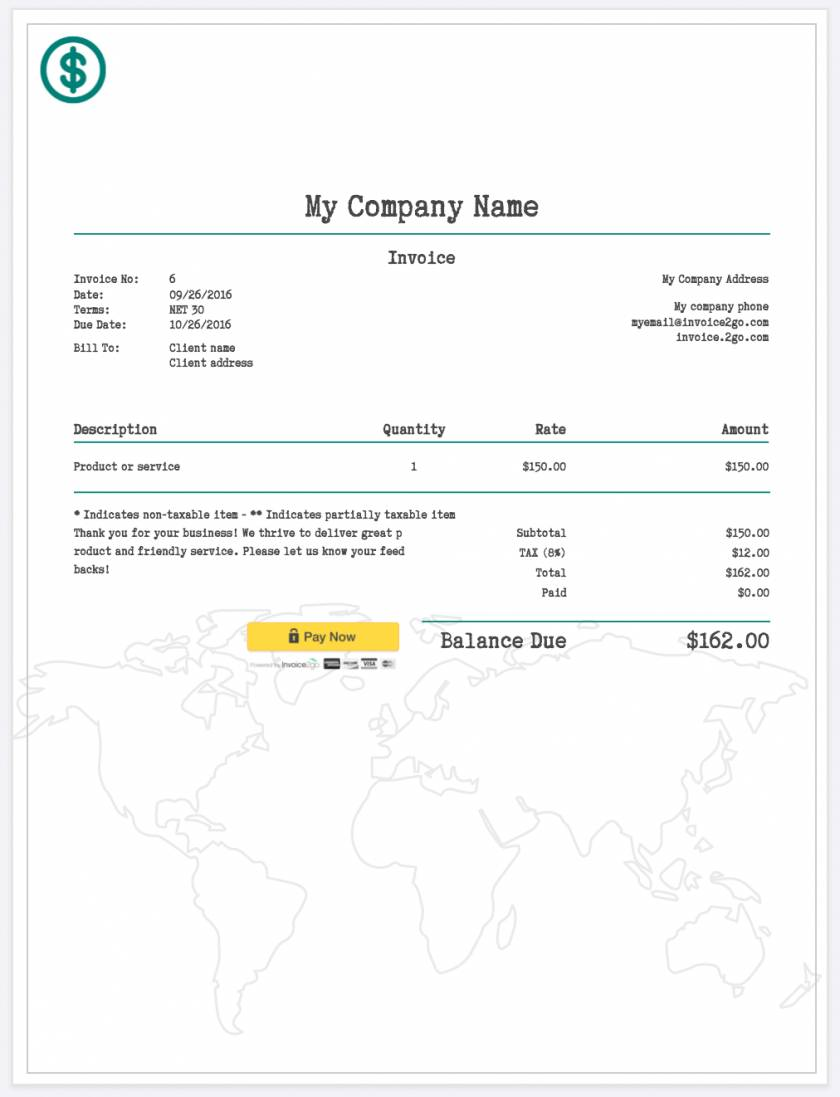 Word Template For Invoicing