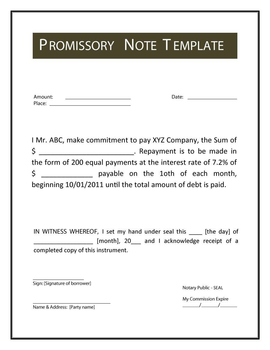 Word Template Promissory Note