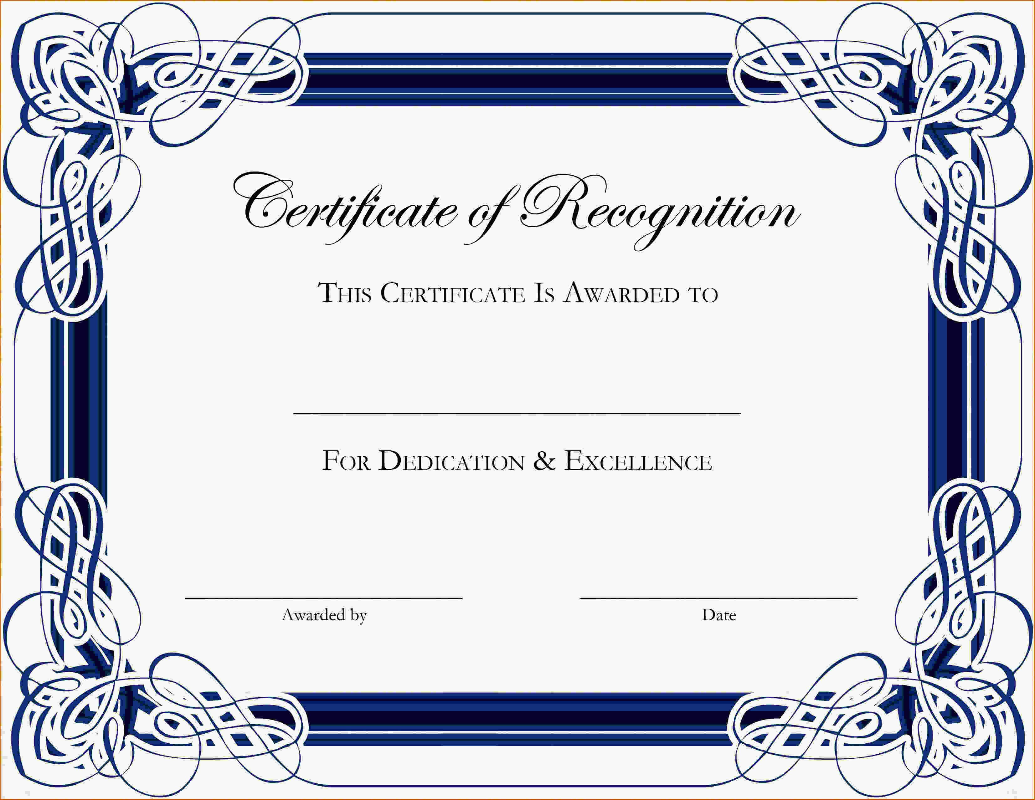 Word Templates For Certificates Of Appreciation