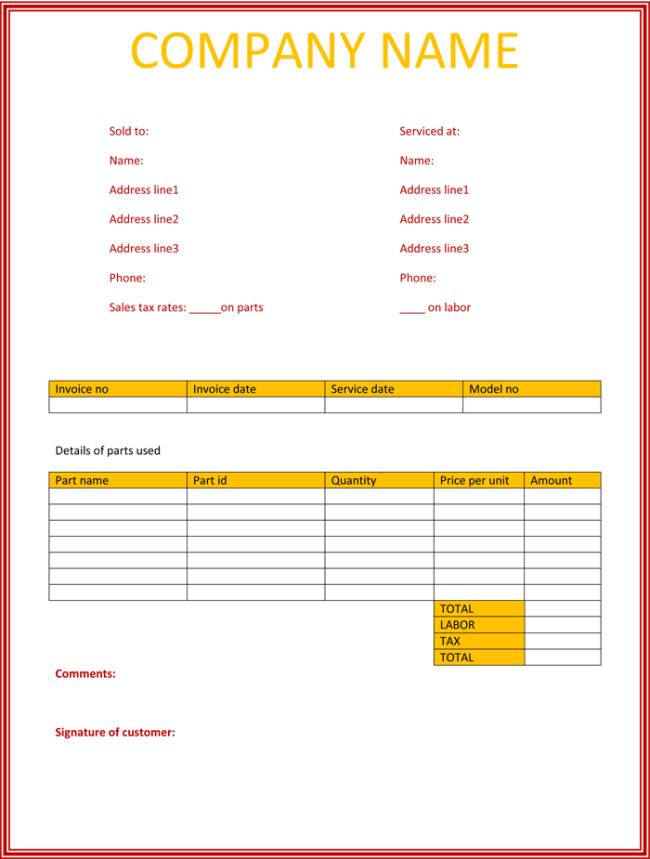 Word Templates Invoices Service