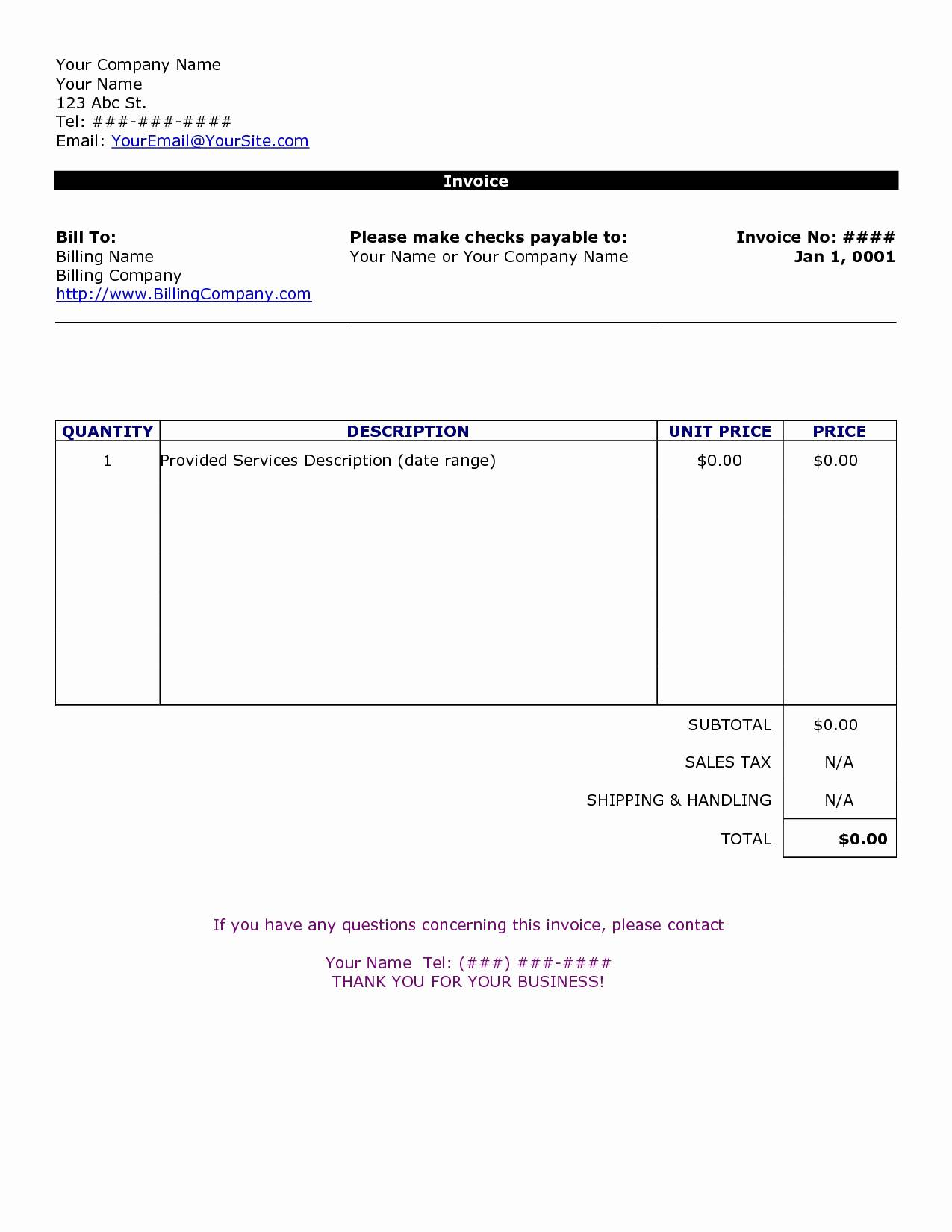 Word Templates Invoices
