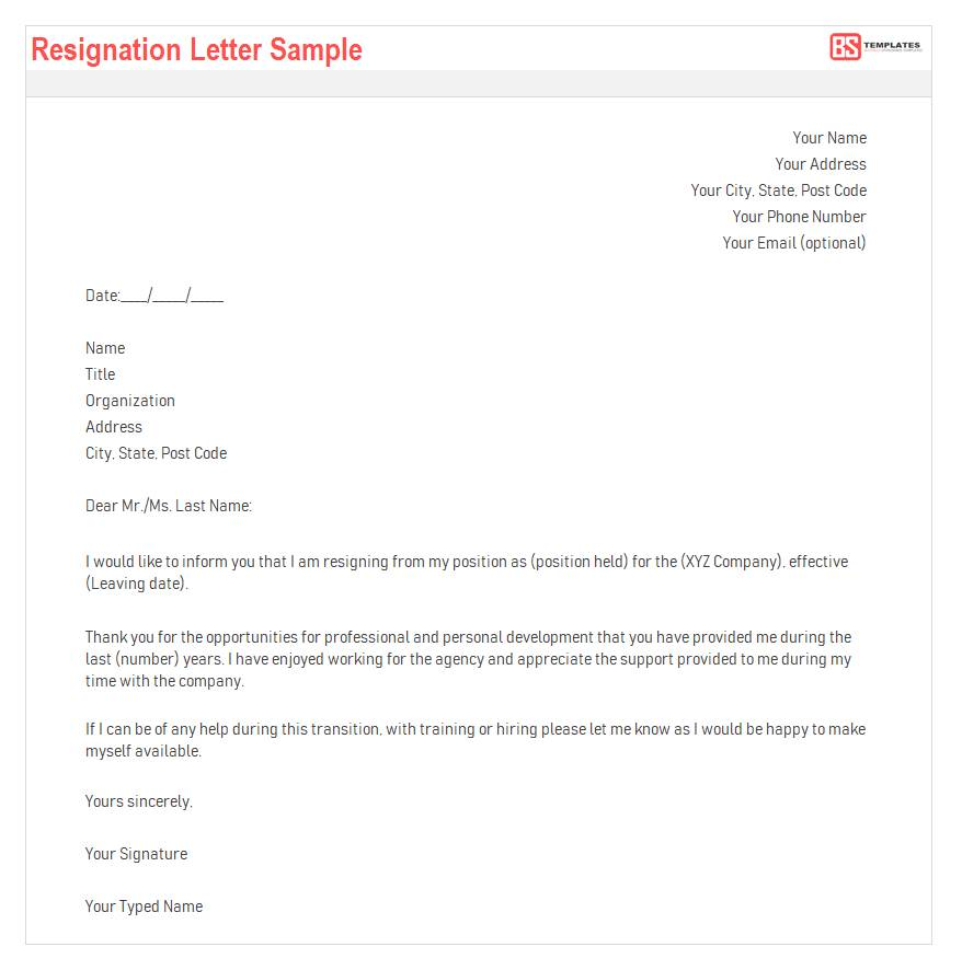 Word Templates Resignation Letter