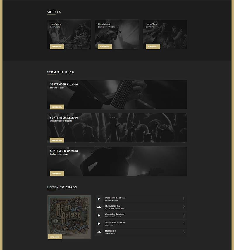 WordPress Templates Music Artist