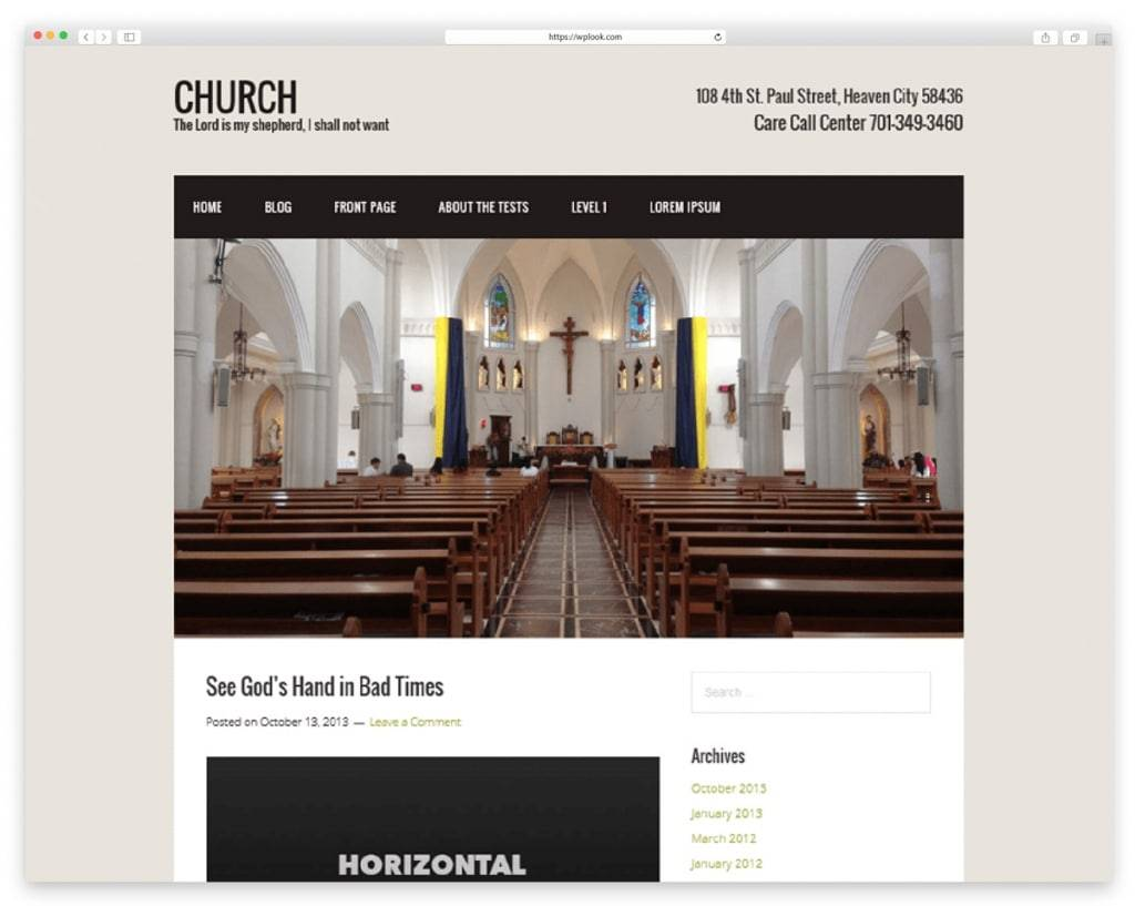 WordPress Themes Church Free