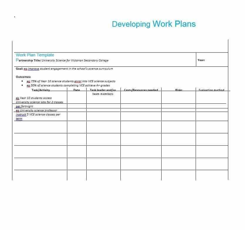 Work Plan Template Word Free