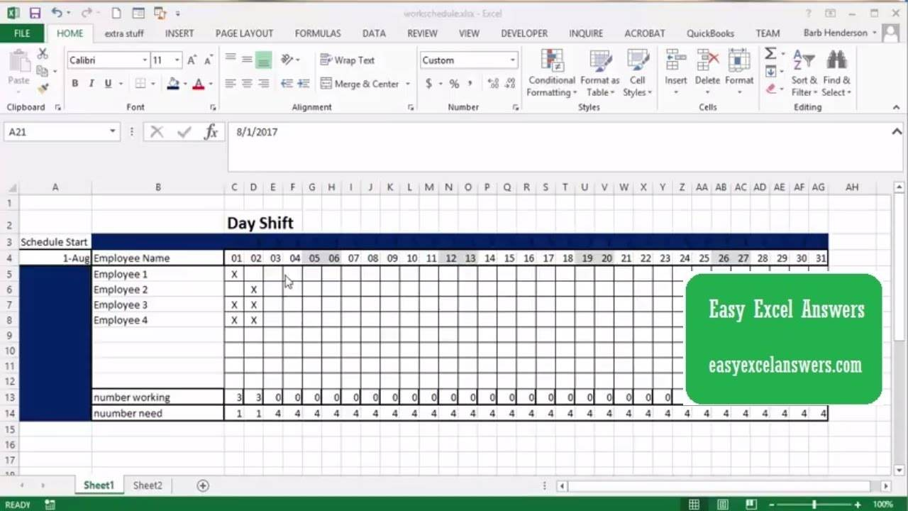 Work Schedule Maker Excel Template