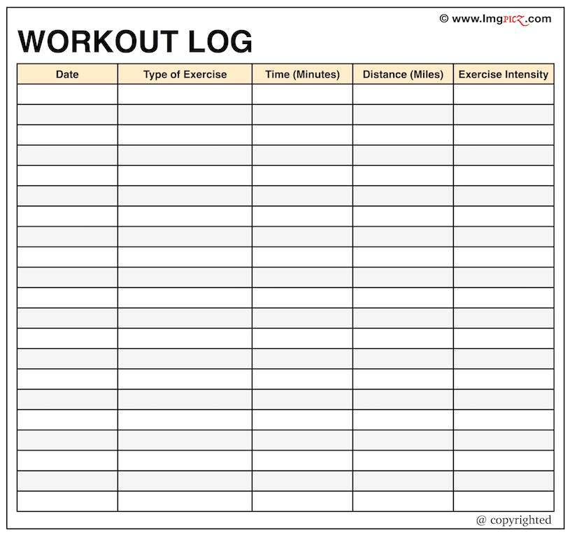 Workout Log Template For Ipad