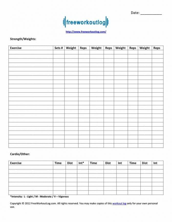 Workout Spreadsheet Template