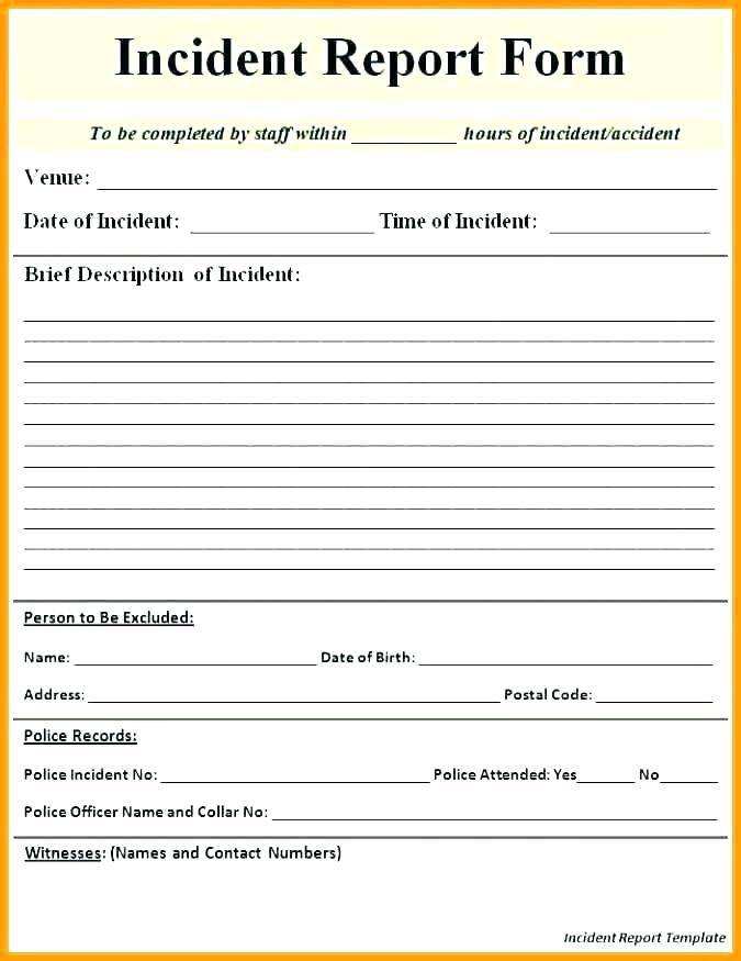 Workplace Incident Report Form Template Free
