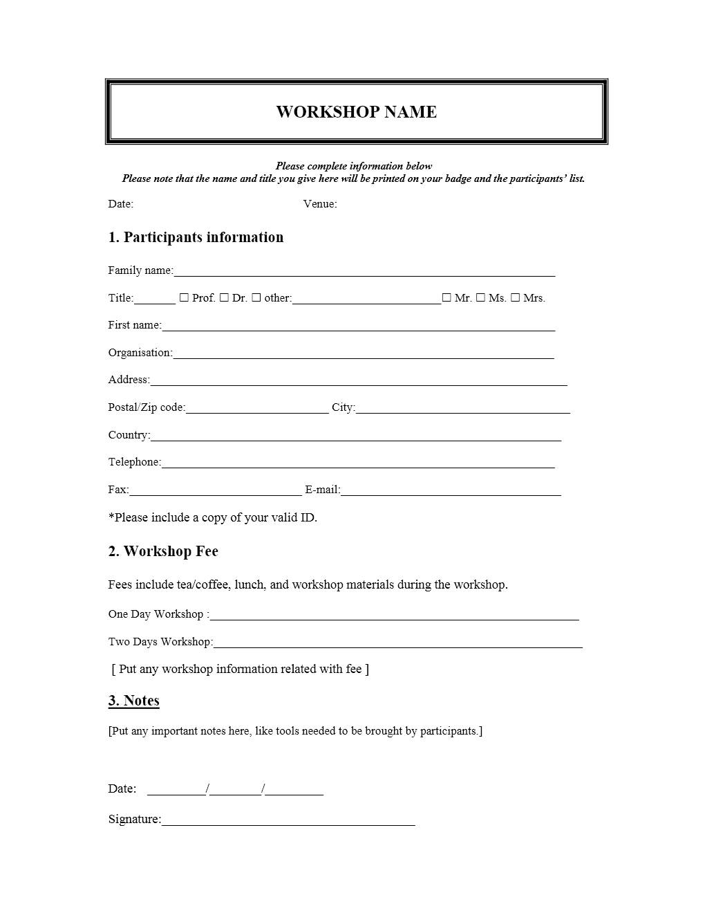 Workshop Registration Form Template Word
